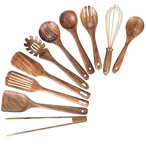Kitchen Wooden Utensils for Cooking,Nonstick Wood Utensil Natural Teak Wood Spoons for Cooking,Kitchen Utenails Set…