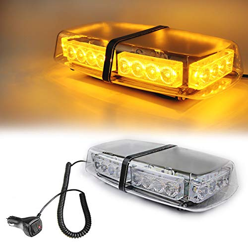 Amber Light Roof Top Mini Bar 24 High Intensity LED 12 Volt Magnetic Strobe Amber Light Warning Truck Vehicle Law Enforcement Snow Plow Safety Flashing Emergency LED Beacon ()