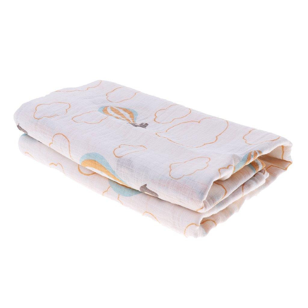 Prettyia Muslin Newborn Blanket Bedding Wrap Swaddle Bath Towel Blanket 110x110cm - Hot air balloon elephant