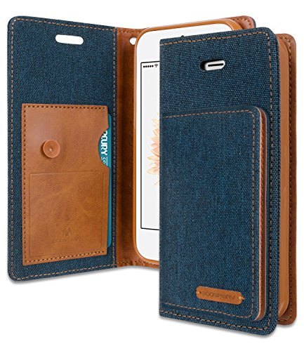 iPhone SE/5S/5 Wallet Case with Free 7 Gift, [Shockproof] GOOSPERY Canvas Flip Ver. Kraken [Denim Style] Card/Cash Slot with Kickstand Folio Cover for Apple iPhoneSE 5S 5 - Navy, IP5-CANF/GF-NVY
