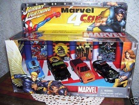 Johnny Lightning Marvel Super Hero 4 Car Box Set w/ SPIDER MAN THUNDERBIRD, SPIDERMAN HUMMER, X MEN SYCLONE, AND WOLVERINE VIPER - X Men Viper