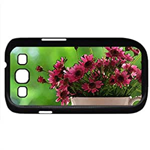 Cup of flowers (Flowers Series) Watercolor style - Case Cover For Samsung Galaxy S3 i9300 (Black)