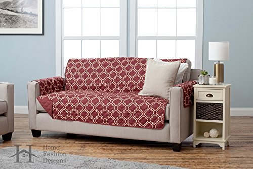 Adalyn Collection Deluxe Reversible Quilted Furniture Protector. Beautiful Print on One Side / Solid Color on the Other for Two Fresh Looks. By Home Fashion Designs Brand.