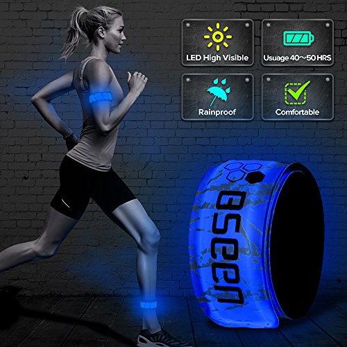 BSEEN LED Armband, 2ed Generation LED Slap Bracelets, Patented Heat Sealed Glow in The Dark Water/Sweat Resistant Glowing Sports Wristbands for Running, Cycling, Hiking, Jogging (Blue-Design ()