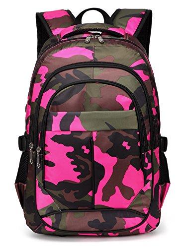 BLUEFAIRY Girls Backpacks For Kids Elementary School Bags Camouflage Print Bookbag (Camo Hot Pink)