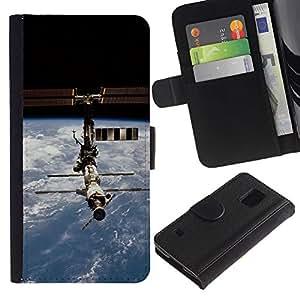 KingStore / Leather Etui en cuir / Samsung Galaxy S5 V SM-G900 / Estación Espacial satélite Orbit Planeta Tierra