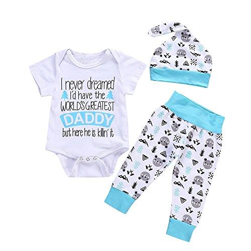 LIKESIDE Newborn Baby Letter Cartoon Print Romper Jumpsuit+Pants+Hat Set Outfit Clothes