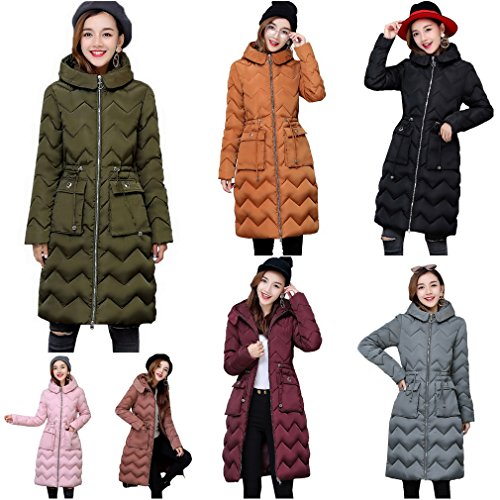 Capucha casual de COMVIP abrigo chaqueta acolchado de capa caliente de Rosado la Mujeres algodón 5qwaCR