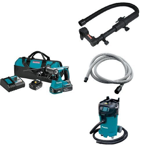 Makita XRH01T 18V LXT Brushless 1-Inch Rotary Hammer Kit, 193472-4 Dust Extraction Attachment, 192108-A 3/4-Inch by 10-foot Vacuum Hose, VC4710 12-Gal Xtract Vac Wet/Dry Dust Extractor/Vacuum