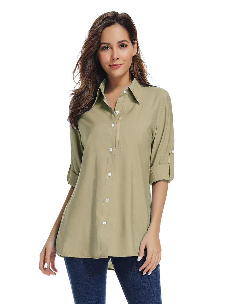 Women's Quick Dry Sun UV Protection Convertible Long Sleeve Shirts for Hiking Camping Fishing Sailing#XJ5019,Khaki,L by Toomett