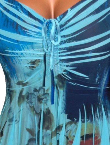 827b87624531 FUNFASH PLUS SIZE BLUE FLORAL SLIMMING EMPIRE WAIST WOMENS PLUS SIZE TOP  SHIRT