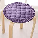 YQ WHJB Round Seat Cushions,Non-slip Chair Cushion,Plush Firm With Ties Indoor Overstuffed Dining Chair Pad Back Cushion-purple diameter30cm(12inch)