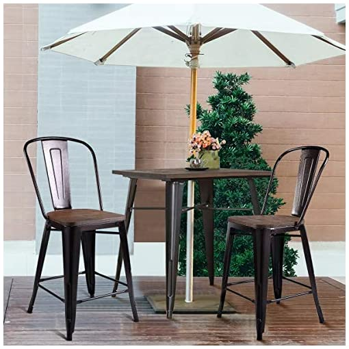 Farmhouse Barstools COSTWAY Metal Bar Stool Set of 2, 24 Inch Patio Chairs with Wood Seat, Removable Back,Industrial Stackable Counter Stool… farmhouse barstools