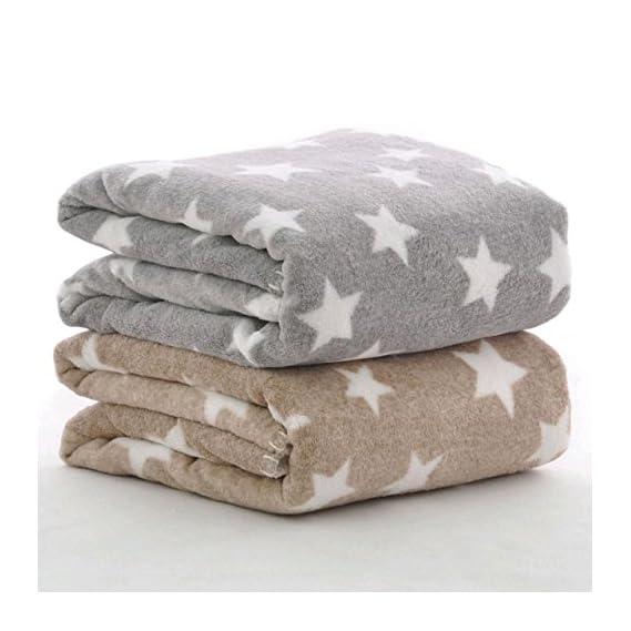 BRANDONN New Born All Season Ultrasoft Baby Blanket for Babies (Beige/Grey) Pack of 2