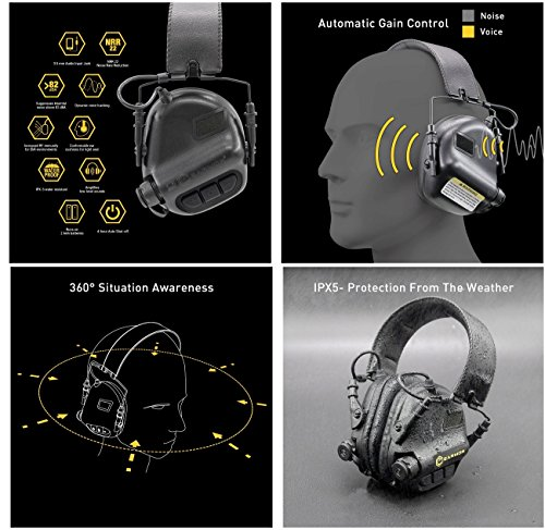 OPSMEN M31-MOD1 Sound Amplification Gun Shooting Noise Canceling Hearing Sport Protection Electronic Earmuff Classic Green (New Version 201805) by OPSMEN (Image #7)
