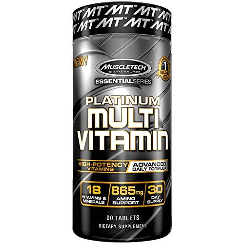 MuscleTech Advanced Daily Multivitamin for Men & Women, Includes Amino Acids, 18 Vitamins & Minerals (100% Daily Vitamins A, C, D, E, B6 & B12), 90 - Caps 90 Test Alpha
