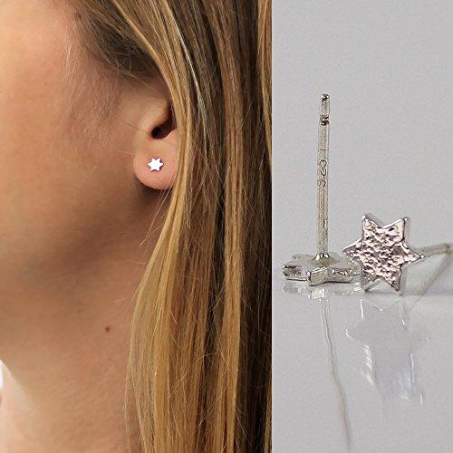 Pair of Tiny Star of David stud earrings Sterling silver, Handmade Designer, 5mm 0.2