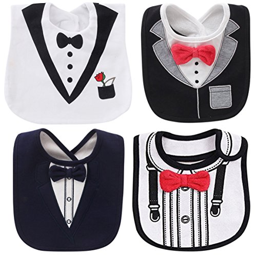 - FANCYBIBS Baby Boy Girl Drool Drooling Bibs Tuxedo Bowtie Bow Neck Tie Burp Cloths Unisex (Bow Tie White Tux)