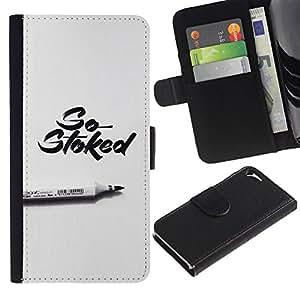 Be-Star la tarjeta de Crédito Slots PU Funda de cuero Monedero caso cubierta de piel Para Apple Iphone 5 / 5S ( Stoked Marker Calligraphy Grey Pen )