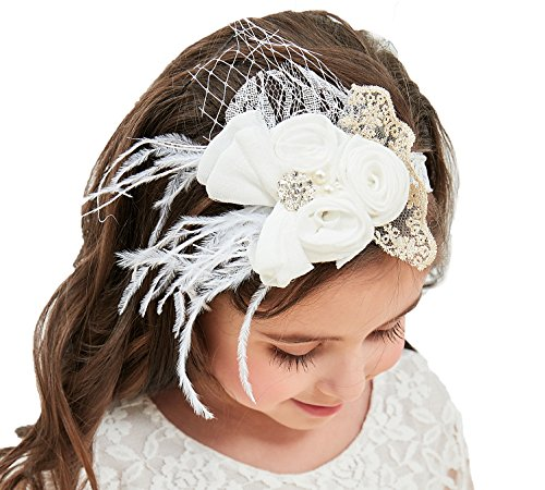 Flower Girl Dress, Lace Dress 3/4 Sleeve Dress (White Headband, S ()