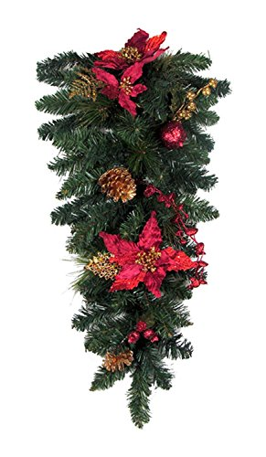 "Northlight 30"" Pre-Decorated Red Poinsettia and Gold Pine Cone Artificial Christmas Teardrop Swag - Unlit"