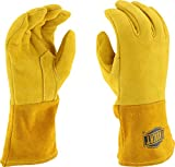 West Chester 6030 Grain Deerskin Leather Insulated Top Reverse MIG Welding Glove with 4'' Split Cuff, Work, 1.3mm Thick, Large, Gold (Pack of 1 Pair)
