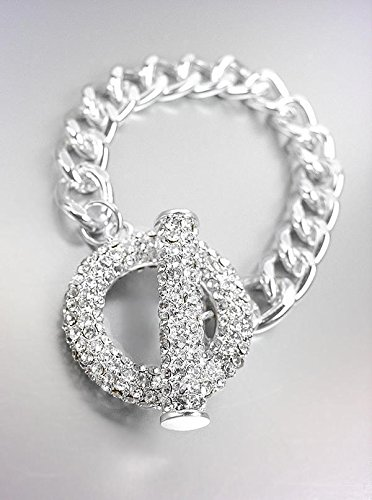 (GORGEOUS GLITZY Bebe Lovely Silver Pave CZ Crystals Ring Toggle Chain Bracelet)