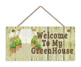 Welcome To My GreenHouse Sign, Shabby Chic Garden Sign, Weatherproof, 5'' x 10'' Sign, Garden Wall Plaque, Crackle Wood Style Wooden Sign.