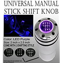 ICBEAMER Aluminum Silver Manual Stick Shift Knob Auto Vehicle Car w/Purple LED Light Top-Glow & CR2032 Battery