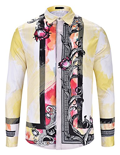 Stampa Maniche Y1792 Elegante A Lunghe Uomo d9 Barocco Camicia Pizoff Oq57a
