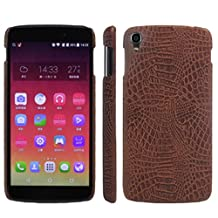Alcatel OneTouch Idol 3 (5.5 Inch) Case, HL Brothers [Ultra Slim] Premium Crocodile Pattern Lightweight Leather Phone Protective Case Cover for Alcatel One Touch Idol 3 5.5 Inch Smartphone (Brown)