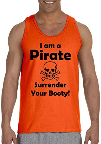 I am a Pirate, Surrender Your Booty Men's Tank Top~Orange~Adult-LG - Adult Pirate Booty