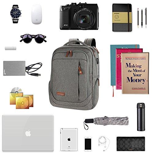 KROSER Laptop Backpack 17.3 Inch Computer Backpack School Backpack Casual Daypack Water-Repellent Laptop Bag with USB Charging Port for Travel/Business/College/Women/Men-Grey by KROSER (Image #6)