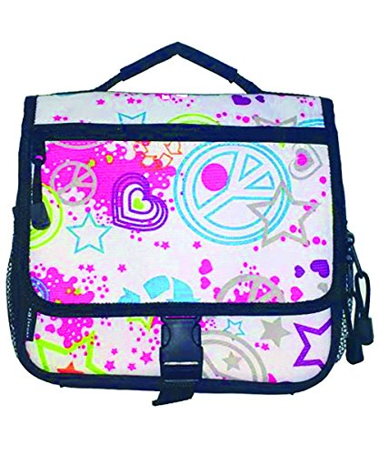 AKA Sport | Peace Print Messenger Isolated Lunch Bag Multi Colors (9.50L x 3.50W x 7.00H (Infants Bahama Sequins)