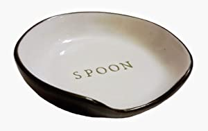 Hearth and Hand with Magnolia Stoneware Spoon Rest Cream/Black Joanna Gaines Collection Limited Edition