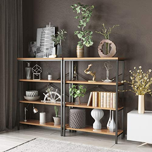 3-Shelf Industrial Bookshelf, Wood and Metal Bookcase, Open Wide Home Office Book Shelf Free Vintage Standing Storage Shelf Units