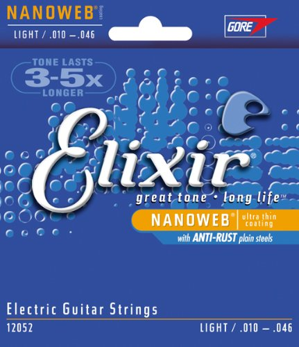 Elixir Nanoweb 12052 coated light electric guitar strings 10-46 (2 - Guitar Light Electric 12052 Nanoweb