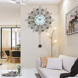 GQYS Crystal Flower Metal Wall Clock, Silent Nordic Quartz Decorative Wall Clock Fashion Creative Personality Wall Clock Modern Round Clock for Living Room Bedroom Wall Art Decor,B