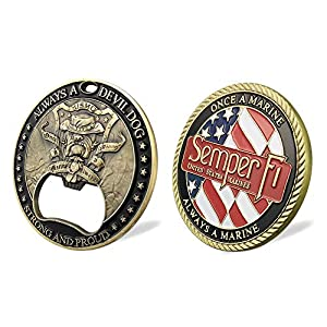 Xsong US Marine Corps Challenge Coin Semper Fi Devil Dog Opener with Naval Aphorism Combination Military Veterans Gift by Xsong