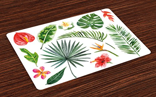 Heliconia Tropical Flower - Ambesonne Plant Place Mats Set of 4, Diverse Pattern of Leaves and Flowers from Tropical Lands Heliconia Philodendron, Washable Fabric Placemats for Dining Room Kitchen Table Decor, Fern Green