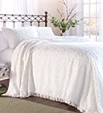 Plow & Hearth Tufted Chenille Cotton King Bedspread, White