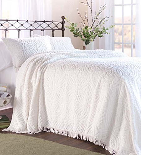Plow & Hearth Tufted Chenille Cotton King Bedspread, White (White Chenille Bedspreads)