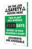 Electronic scoreboards count up automatically each day to keep track of your company's accident-free workdays, and motivate employees to work safely. It's an eye-catching, interactive way to inform and alert employees while promoting safety! ...