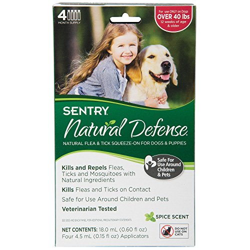 SENTRY Natural Defense Flea and Tick Topical for Dogs and Puppies, Over 40 lbs, 4 Month Supply (Sentry Natural Defense Natural)