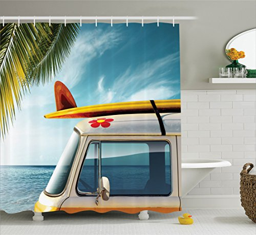 Ambesonne Surfboard Decor Collection, Vintage Van in the Beach with Surfboard on the Roof Journey Spring Sky Image, Polyester Fabric Bathroom Shower Curtain, 75 Inches Long, Yellow