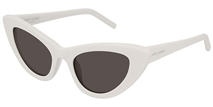 1d251f00c9 Image Unavailable. Image not available for. Color  Saint Laurent SL213 005  Ivory Lily Cats Eyes Sunglasses ...