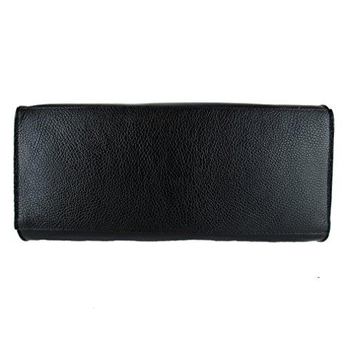 Borsa da donna vera pelle con tracolla Made in Italy FG 388480 nero