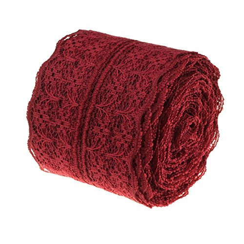 (Fivejorya Burgundy Lace Roll Fabric 2'' x 10yards Craft Lace Ribbon Vintage Floral Lace Trimming Vintage Woodland Greenery Wedding Bridal & Baby Shower Party Decor Decorations)