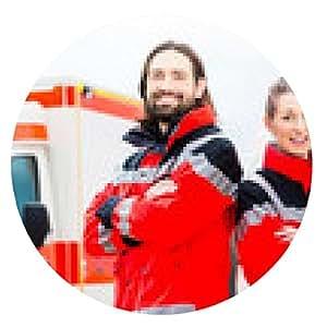 alfombrilla de ratón Notartzt y paramédicos delante de la ambulancia - ronda - 20cm