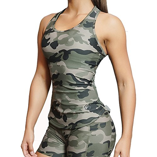 Women's Racerback Workout Shirt Gym Sports Yoga Running Compression Dry Fit Tank Top Camo-Camouflage L